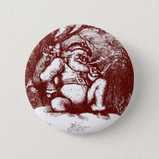 Thomas Nast Santa Claus on Rooftop 6 Cm Round Badge