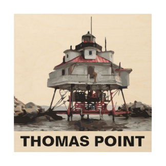THOMAS POINT LIGHT WOOD PRINT