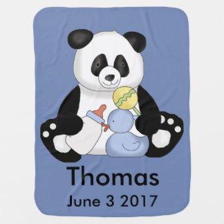 Thomas's Personalized Panda Baby Blanket