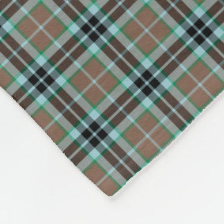 Thompson Clan Light Brown and Blue Hunting Tartan Fleece Blanket