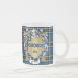 Thompson Family (Irish) Coat of Arms Frosted Glass Coffee Mug