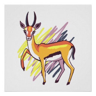 Thomson's Gazelle Fun Colourful Drawing Poster