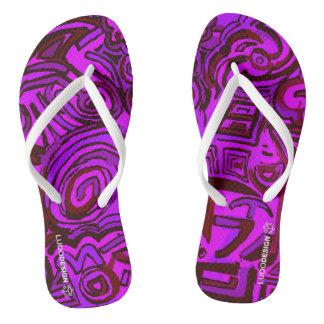 Thongs Magenta Symbols Ludodesign Flip Flops