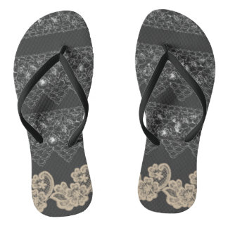 Thongs unisex with embroiders of finishing nails