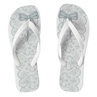 thongs with blue bows and finishing nails