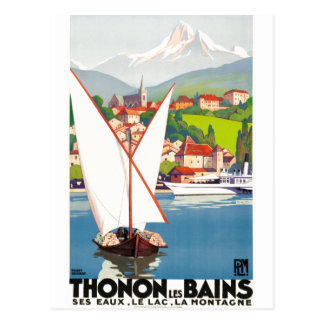 Thonon Les Bains French Travel Advertisement Postcard