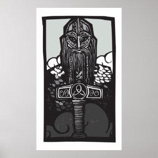 Thor and Mjolnir Poster