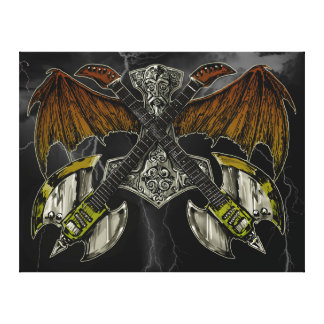 Thor Hammer of the Gods Guitars Stretched Canvas Prints