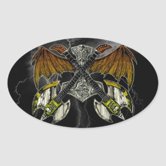 Thor Hammer of the Gods Guitars Oval Sticker