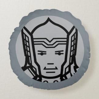 Thor Stylized Line Art Icon Round Cushion