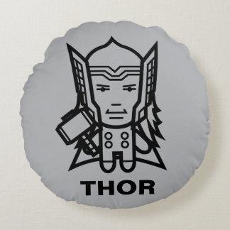 Thor Stylized Line Art Round Cushion
