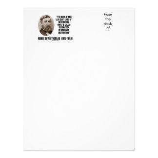 Thoreau Lead Quiet Lives Desperation Resignation Letterhead Design