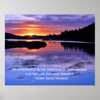 Thoreau quote and Big Bear Sunrise Poster