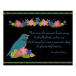 Thoreau Quote Bluebird and Flowers Poster