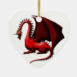 Thorn, the Red Dragon Ceramic Heart Decoration