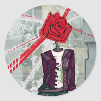 Thorns and Rose Classic Round Sticker