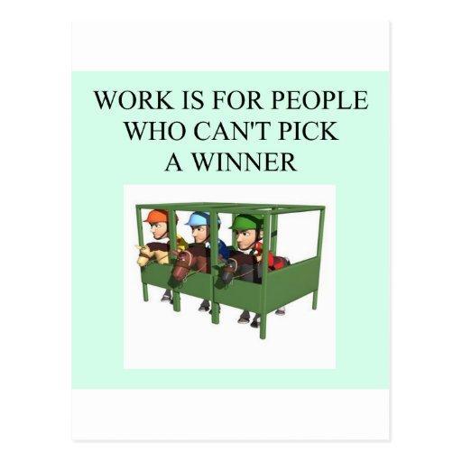 thorough bred horse racing design post card