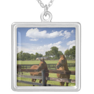 Thoroughbred horse farm in Marion County, Square Pendant Necklace