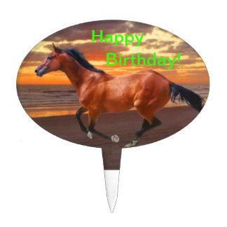 Thoroughbred horse Happy Birthday Cake Topper