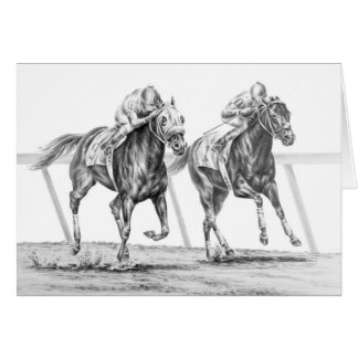 Thoroughbred Horse Race Drawing by Kelli Swan Card
