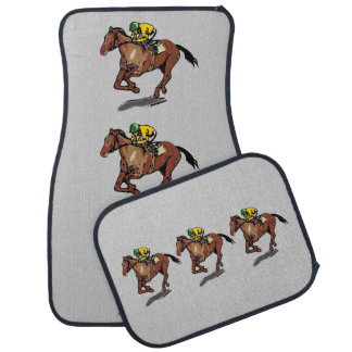 Thoroughbred Horse Racing and Jockey Car Mat