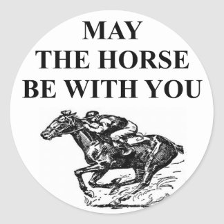 thoroughbred horse racing classic round sticker