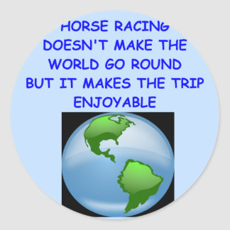 thoroughbred horse racing round sticker