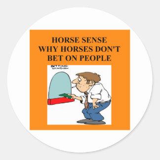 thoroughbred horse racing round sticker