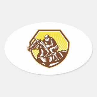 Thoroughbred Horse Racing Woodcut Retro Sticker