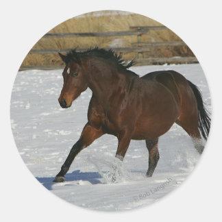 Thoroughbred Horse Running in the Snow Round Sticker