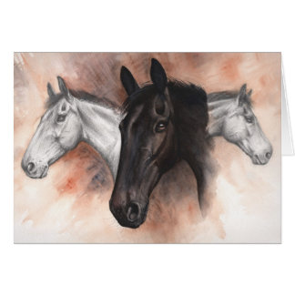 Thoroughbred Horses Drawn and Painted Greeting Card