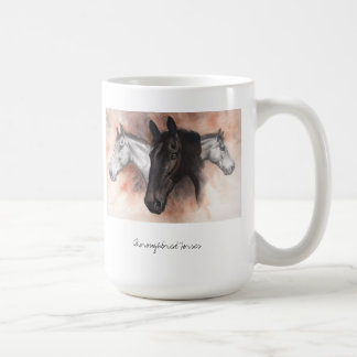 Thoroughbred horses in pencil and watercolour coffee mug