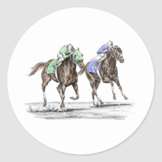 Thoroughbred Horses Racing Classic Round Sticker