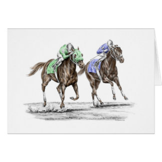 Thoroughbred Horses Racing Greeting Card