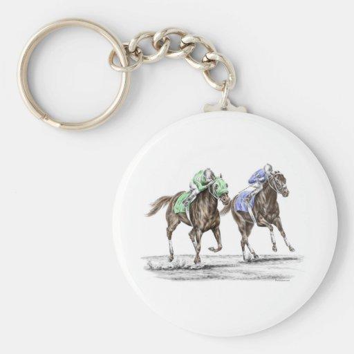 Thoroughbred Horses Racing Keychain