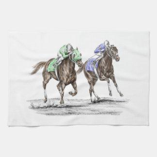 Thoroughbred Horses Racing Tea Towel