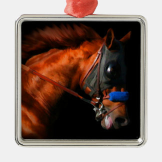 Thoroughbred Race Horse Silver-Colored Square Decoration