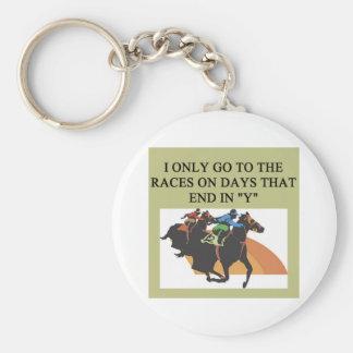 thoroughbred racing lovers basic round button key ring