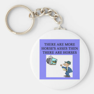 thoroughbred racing lovers basic round button key ring