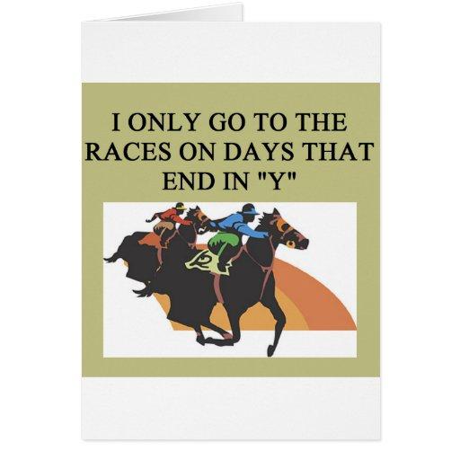 thoroughbred racing lovers greeting card