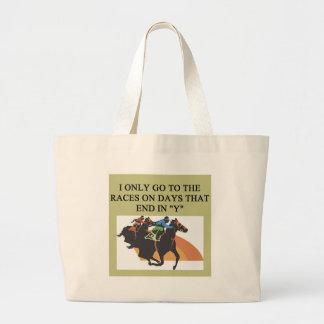 thoroughbred racing lovers jumbo tote bag