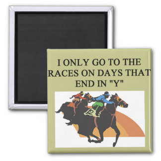 thoroughbred racing lovers square magnet