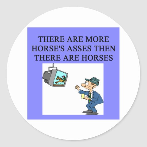 thoroughbred racing lovers round sticker