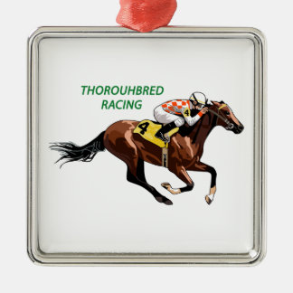 Thoroughbred Racing Silver-Colored Square Decoration