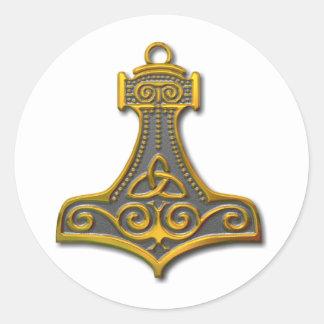 Thor's Hammer-gold Classic Round Sticker