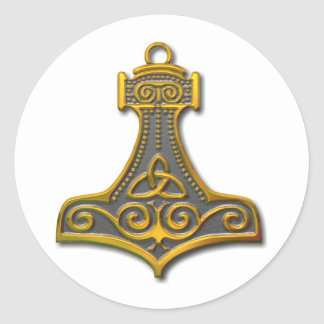 Thor's Hammer-gold Round Sticker