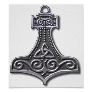 Thor's Hammer-silver Poster