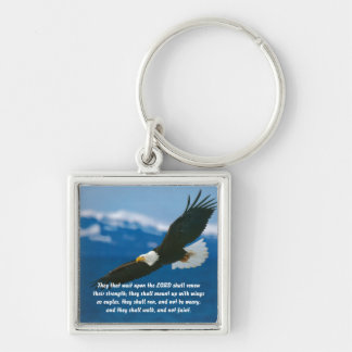 Those Who Wait On The Lord Silver-Colored Square Key Ring