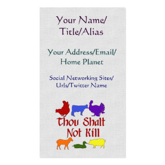 Thou Shalt Not Kill Pack Of Standard Business Cards