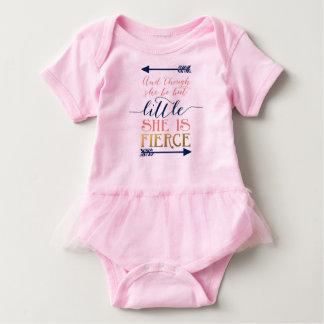Though She Be but Little She is Fierce Baby Tutu Baby Bodysuit